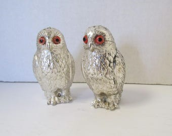 Vintage Holiday Imports OWL Salt and Pepper Shakers Silverplate