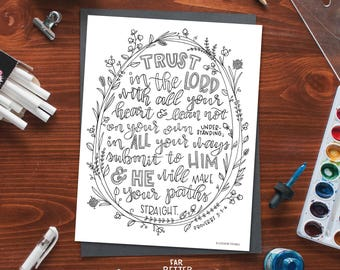 Bible Verse Coloring Page - Trust in the Lord - Proverbs 3:5-6 - Printable Coloring Page - Bible Coloring Pages - Christian Kids Activity