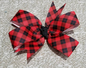 4 inches gingham black and red plaid pin wheel hair bow on a non slip alligator clip