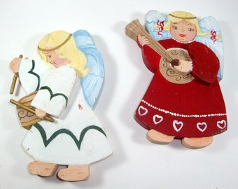 Vintage Wood Angels, Hand Painted Christmas Decor, Set of 2, Holiday Decoration