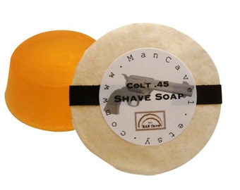 SHAVING Soap - COLT .45 - Long Lasting Shave Soap  - refills for shaving mugs too by Man Cave Soapworks