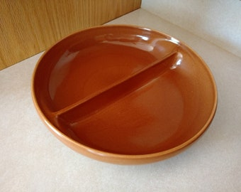 Vtg Iroquois Casual China by Russel Wright Apricot Round Divided Vegetable Bowl