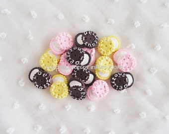 9pcs - Sweet Italian Cream Cookie Mix Decoden Cabochon (19x12mm) CE10010
