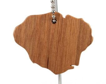 Kauai Island Outline Key Chain, Hawaii State Key Chain, USA State Key Ring, Kauai Key Fob, Canarywood