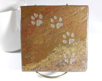 Stone Coasters - Cat Paw Print Coasters - Quality Slate Coasters, Stone Coasters for Drinks, Cat Coasters, Animals Coasters, Cat Lover Gifts