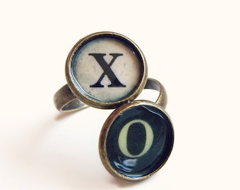 Edith - typewriter key initials ring -  antique brass - personalized custom ring - typewriter key ring