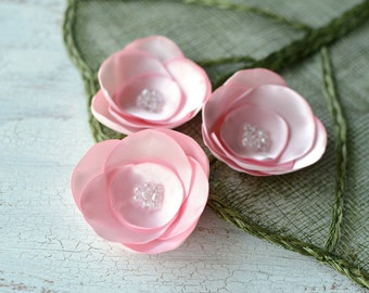 Satin fabric flowers, silk flower appliques, small satin roses, wedding flowers, bulk fabric flower embellishments (3pcs)- BABY PINK ROSES