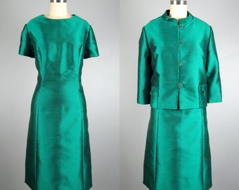 Vintage 1960s Emerald Green Dress and Jacket Set 60s VOLUP Silk and Wool Cocktail Dress Set Size XL