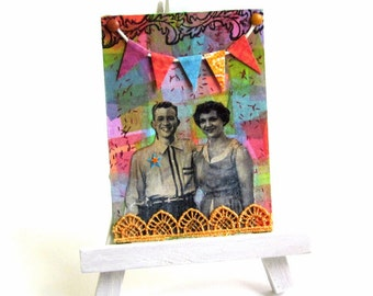 ACEO Mixed Media Original Art Card Mixed Media Collage Artist Card Multicolor Festive 1950s Couple