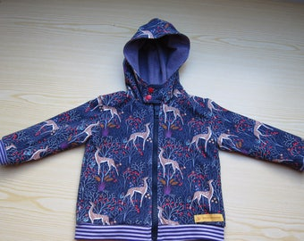 Toddler's Sweat Jacket Hoodie Gazellen size 9-12Mo  Baby Winter Jacket, Hoodie, lined Jacket, made to order