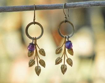 Woodland Amethyst Earrings Vintage branch Amethyst Stone
