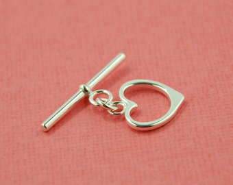 sterling silver toggle clasp - heart shaped toggle clasp - silver heart toggle clasp - sterling heart toggle - toggle bar