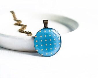 Polka dot necklace blue pendant polka dot jewellry