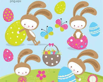 Easter Clipart, Easter Bunny clipart, Easter Clip Art, Easter Egg clipart, Easter graphics, Spring Clipart, Commercial License Included