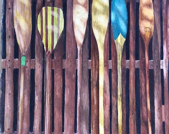 FREE SHIPPING!! Watercolor of vintage canoe paddles standing up on a fence