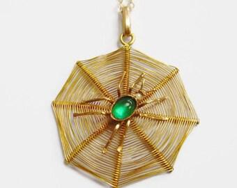 EDWARDIAN 9ct Gold Spider Pendant   Paste Spider Pendant   Spider Web Necklace   Gold Spider Web Necklace   Gold Spider Pendant