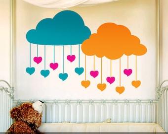 Clouds Nursery Wall Decor, Nursery Decal Clouds with Hanging Hearts Vinyl Wall Decals, Nursery Decal, Baby Nursery, Kids Bedrooms, 616TT