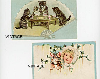 Two Scrapbook Scrap Collectables with Kittens, Little Girl, Embossed, Victorian