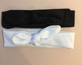 Black or White - One Cute Newborn, Baby, Toddler, Kids Rabbit Ears/Bow Headband/Hairband in either Black or White