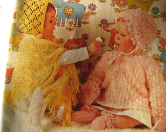7 Vintage Crochet and Knit Baby PDF Patterns Sweaters Bonnet Mitts Booties P176h, P176i