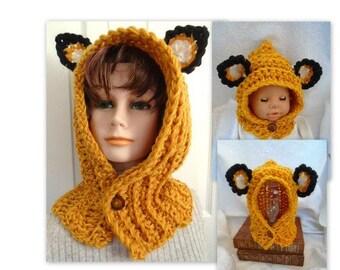 Fox Hood Hat, CROCHET PATTERN, Baby, toddler, child, teen, adult, men, women, boys, girls, all sizes,  free pattern see below # 887