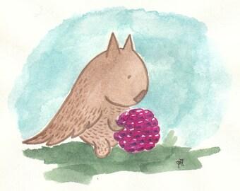 Greeting card: Kukunos with raspberry. Hand-drawn illustration.