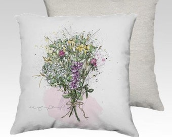 18x18 Cushion cover / Flower bouquet illustration / Throw pillow cover / floral cushion / Rustic Chic