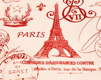 Upholstery Fabric, Drapery Fabric, Paris Fabric, Eiffel Tower Fabric, Red French Script, Sewing Material, Yards/Half Yards/Fat Quarters