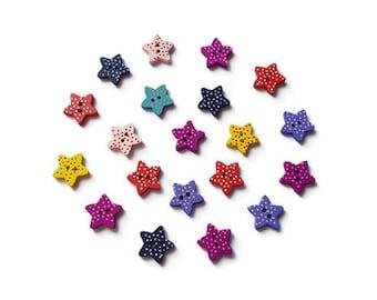 Wooden star buttons