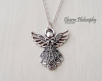 Guardian Angel Necklace - Angel Charm - Memorial Jewelry - Antique Silver Jewelry