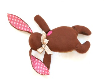Easter bunny rabbit doll, brown bunny toy, soft bunny rabbit toy, plush bunny, stuffed Easter rabbit, gift for child