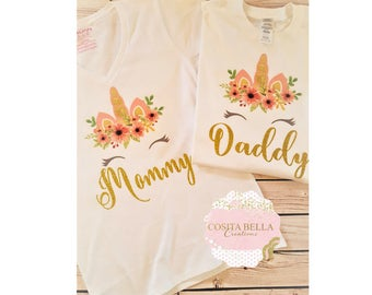 Matching Mommy and Daddy of the Birthday girl Shirt,Mom of the birthday girl,Daddy shirt,Unicorn,Matching Unicorn shirts