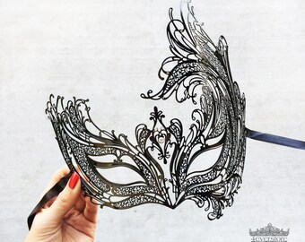 Masquerade Mask, Black Masquerade Mask,  Masquerade Ball Mask, Mask with Sparkling Clear Rhinestones, New Year's Eve Mask