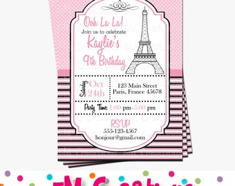 Paris Birthday Party Invitation - Parisian Printable Invitation - French Birthday Party - Eiffel Tower Invite - Pink and Black Poodle