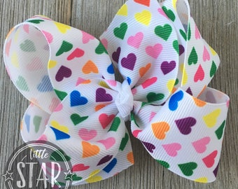 Valentine's Hearts Hair Bow  - Eighties Hearts Boutique Hair Bow - Valentine's  Hair Bow - Girls Hair Bow -