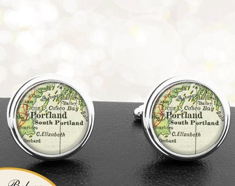 Vintage Map Cufflinks Portland Casco Bay ME Cuff Links State of Maine for Groomsmen Wedding Party Fathers Dads Men