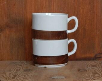 Set of 2 Scandinavian Vintage Gefle MALTA Coffee Cup Ceramic Cup