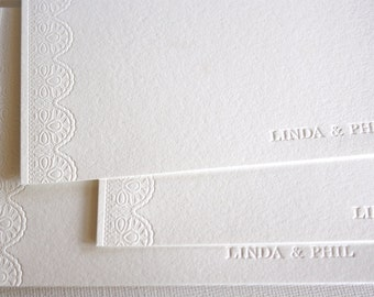 Personalized Letterpress Stationery Lace White Pearl Ecru