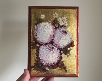 Vintage 60s 70s Metallic Floral Signed Painting • 60s Art Piece