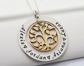 Tree of Life Personalized Mixed Metal Family Necklace