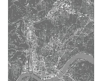 Cincinnati Cityscape Art Print / Ohio Aerial City Map Wall Art / 8x10 / Choose your Color