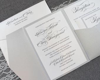 Silver Wedding Invitations, Pocket Invitation for Wedding, Traditional Wedding Invitations, Modern Wedding Invitations | Elnaz & Andrew