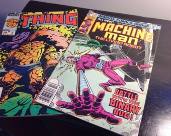 Lot of Four Comic Books: The Thing, Amazing Superman, Machine Man, and Starriors