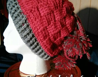 Fuchsia and Gray Convertible Hat