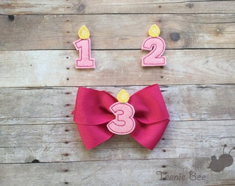 Birthday Hair Bow Headband - First Birthday Hair Bow - Second Birthday Hair Bow - Third Birthday Hair Bow - Happy Birthday Hair Bow Headband