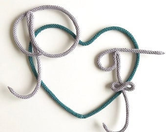 Initials and heart knitting