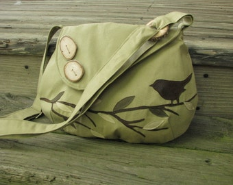"Vegan Bird Shoulder Bag/ 12"" by 9""/ Canvas Tote, Vegan Purse, Eco-Friendly Handmade Messenger, Vegan Tote, School Bag"
