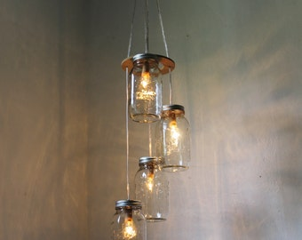 Mason Jar Chandelier, Hanging Mason Jar Pendant Lighting Fixture, 4 Quart Jars Spiral, Rustic BootsNGus Lighting & Decor, Bulbs Included
