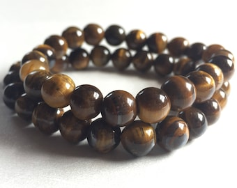 Men's Solid Tiger's Eye Beaded Bracelet