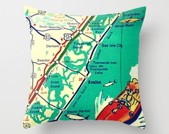 New Jersey Pillow Cover, Custom New Jersey Pillow, Cape May NJ, Cape May Map Pillow, Custom NJ Pillow, New Jersey Map Pillow, Jersey Girl